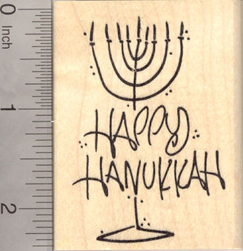 Happy Hanukkah Menorah Rubber Stamp, Chanukah Festival of Lights