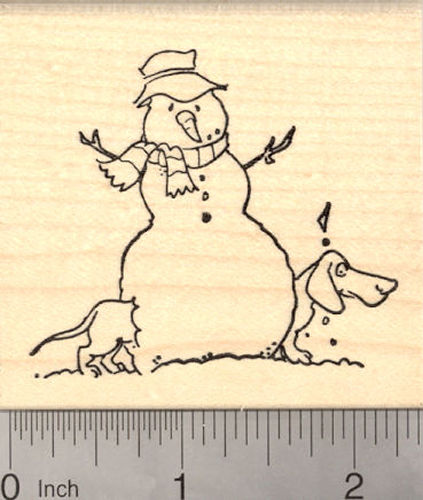 Dachshund with Snowman, Holiday Rubber Stamp