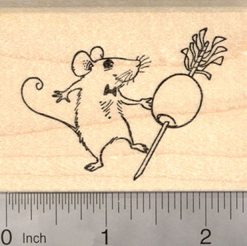 Mouse Dancing with Martini Olive Rubber Stamp, New Year Party