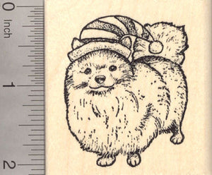 Christmas Pomeranian in Elf Hat Rubber Stamp
