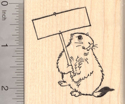 Groundhog Day Rubber Stamp, Groundhog with Blank Sign