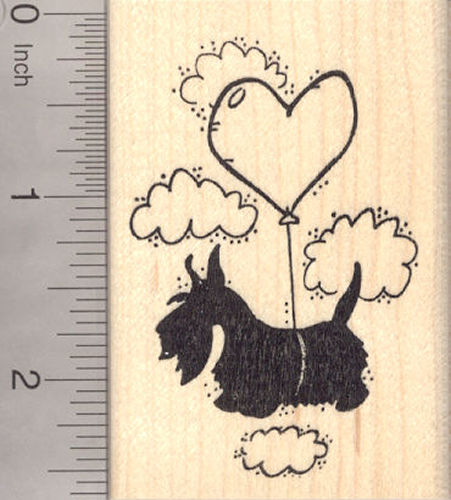 Valentine's Day Scottish Terrier Dog Rubber Stamp, with Heart Balloon