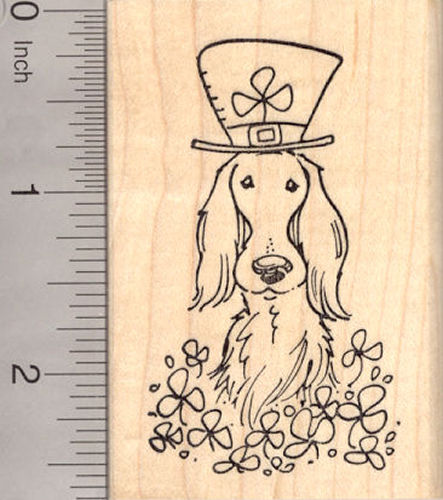St. Patrick's Day Irish Setter Dog in Shamrocks Rubber Stamp