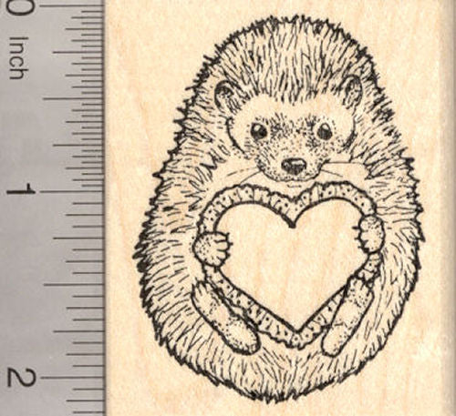 Valentine's Day Hedgehog Rubber Stamp, with Heart
