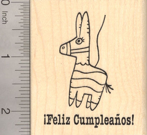 Feliz Cumpleanos Pinata Rubber Stamp, Spanish Language Birthday Saying