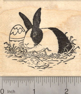 Easter Dutch Rabbit with Egg Rubber Stamp, Domestic House Rabbit