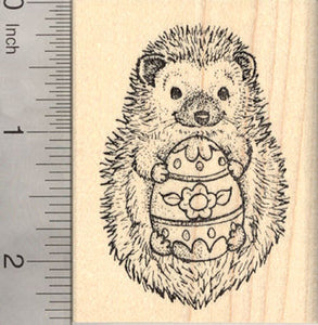 Easter Hedgehog with Painted Egg Rubber Stamp