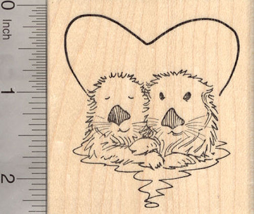 Valentine's Day Sea Otter Rubber Stamp, Otters in Heart