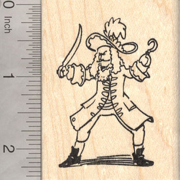 Pirate Rubber Stamp, Fighting Pirate Captain with Hook
