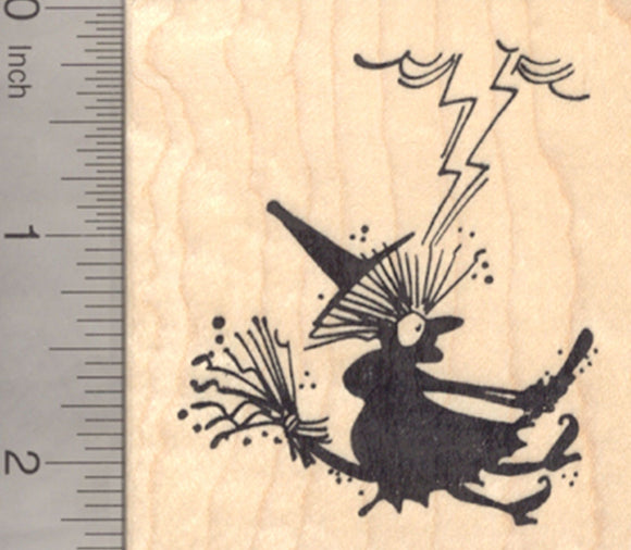 Halloween Witch Rubber Stamp, Struck by Lightning on her Broomstick