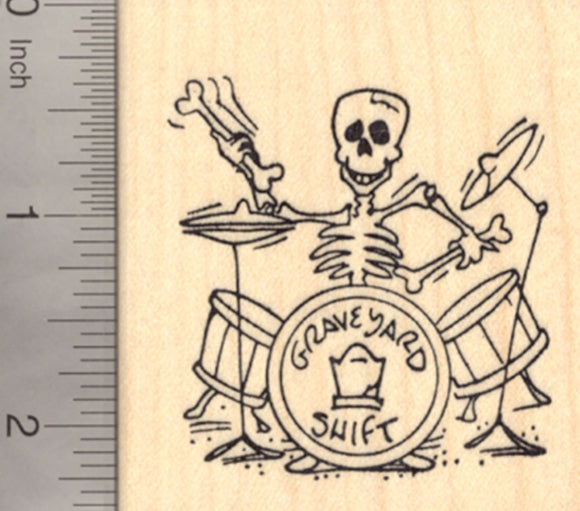 Halloween Skeleton Rubber Stamp, Playing Drums with Bones, Day of the Dead