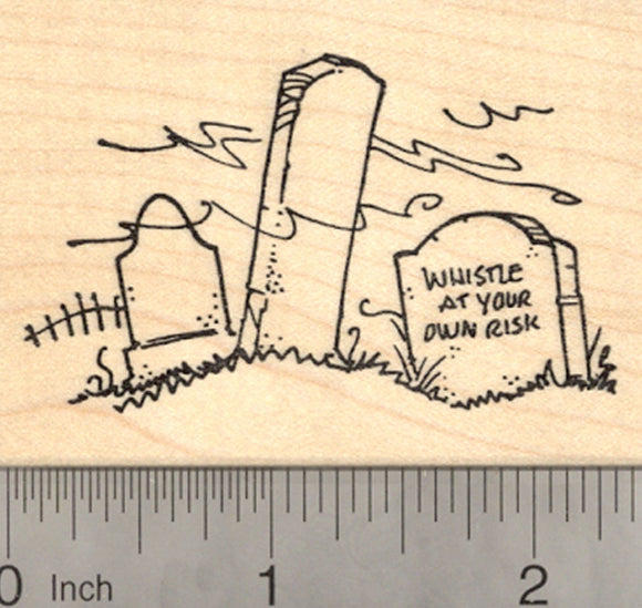Halloween Graveyard Rubber Stamp, with Whistle Tombstone Cemetery Scene