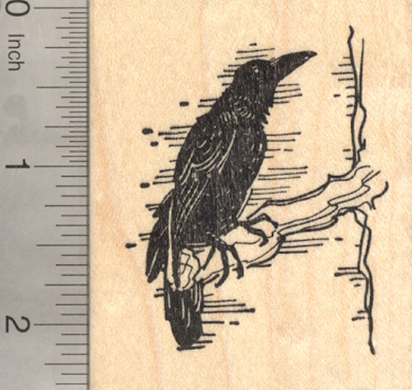 Raven Rubber Stamp, Blackbird, Crow, Bird
