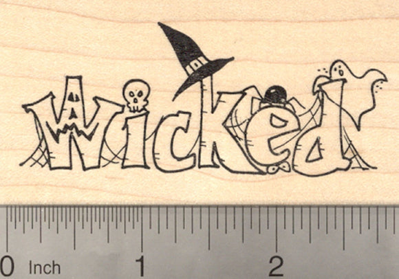 Halloween Rubber Stamp, Wicked Word Stamp with Witch Hat, Ghost, Spider, Skull