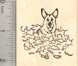 German Shepherd Dog Rubber Stamp, in Autumn Leaf Pile