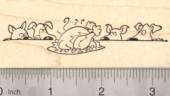 Thanksgiving Dog Rubber Stamp, Puppies Drooling over Turkey