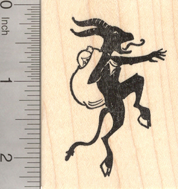 Christmas Krampus Rubber Stamp, in Silhouette with Bag, Alpine Folklore