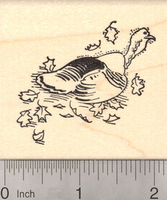 Wild Turkey Rubber Stamp, in Fall Leaves, Thanksgiving