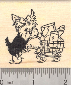 Yorkshire Terrier Dog Rubber Stamp, Yorkie with Grocery Shopping Cart