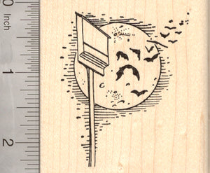 Bat House Rubber Stamp, with Full Moon and Bats