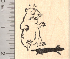 Groundhog Day Rubber Stamp, Ground Hog sees his shadow, Woodchuck, Marmot