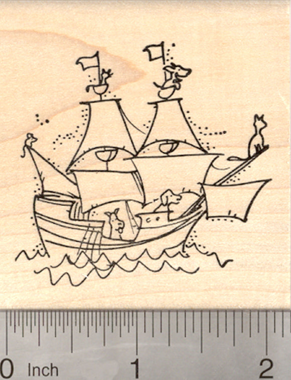 Galleon Sailing Ship Rubber Stamp, with Cat, Dog, and Mouse Sailors