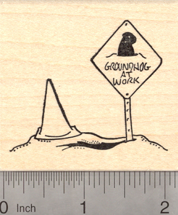 Groundhog Day Rubber Stamp, Burrow with at Work Sign and Traffic Cone