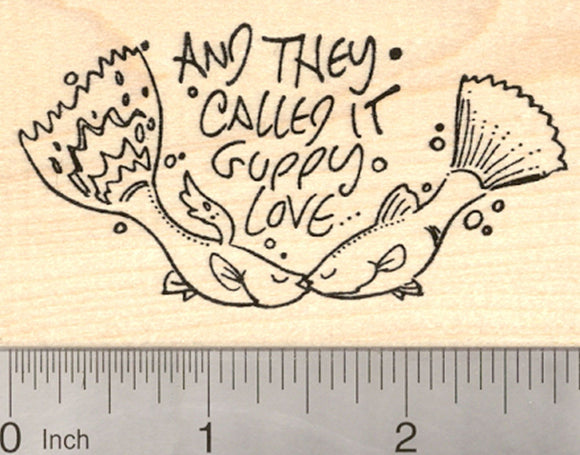 Valentine's Day Rubber Stamp, Guppy Love, with Kissing Fish