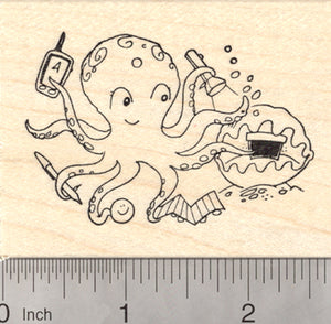 Geocaching Octopus Rubber Stamp, with Geocache in Giant Clam