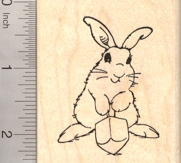 Hanukkah Bunny Rubber Stamp, Rabbit with Dreidel