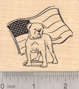 American Bulldog Rubber Stamp, Dog with Flag
