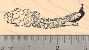 Easter Peacock Rubber Stamp, Hatching from Egg