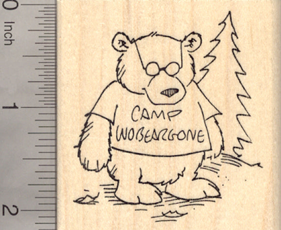 Camp Counselor Bear Rubber Stamp, Wobeargone, Camping