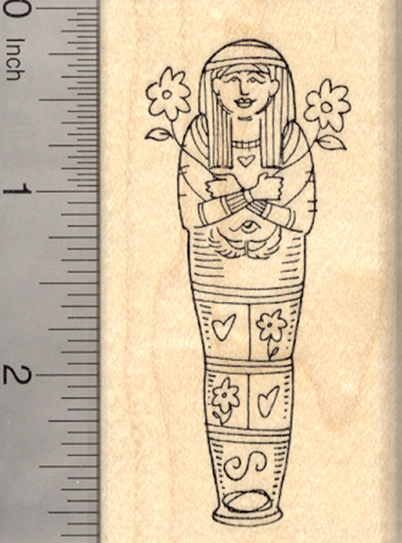 Egyptian Mummy Rubber Stamp, Mom with Flowers