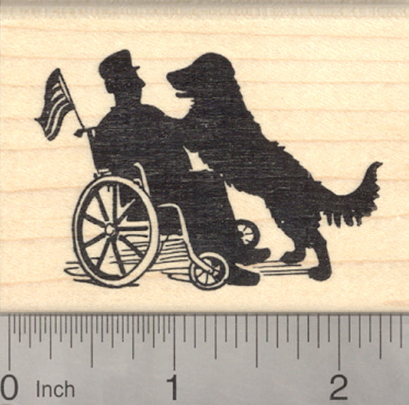 Military Dog Rubber Stamp, Therapy Labrador Retriever, Wheelchair Veteran