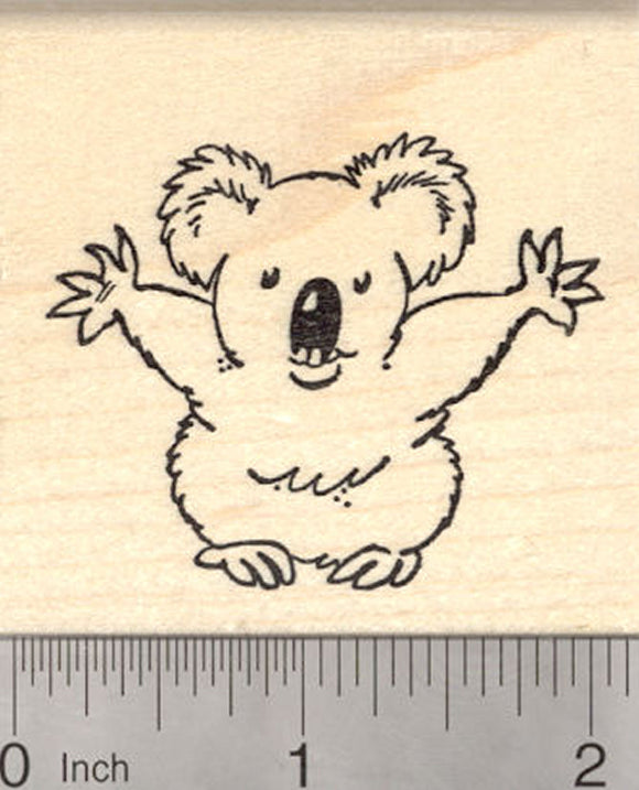 Koala Bear Hug Rubber Stamp