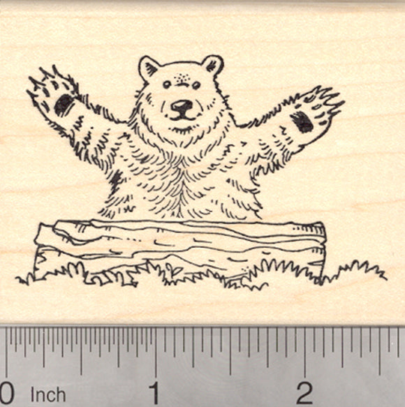 Bear Hug Rubber Stamp, Brown Bear, Kodiak, Grizzly