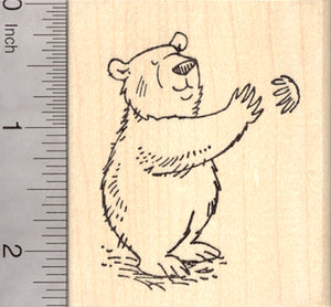 Bear Hug Rubber Stamp, Friendly Brown Bear, Kodiak, Grizzly