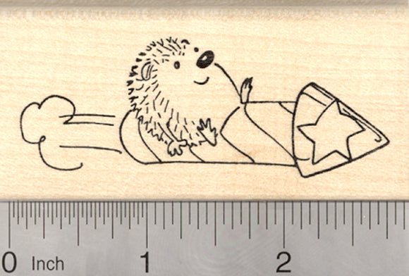 Hedgehog 4th of July Rubber Stamp, Riding on Firecracker Rocket