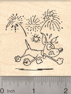 Dog 4th of July Rubber Stamp, Fireworks, Firecracker