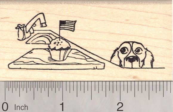 4th of July Dog Rubber Stamp, Flag Cupcake Snacking Spaniel