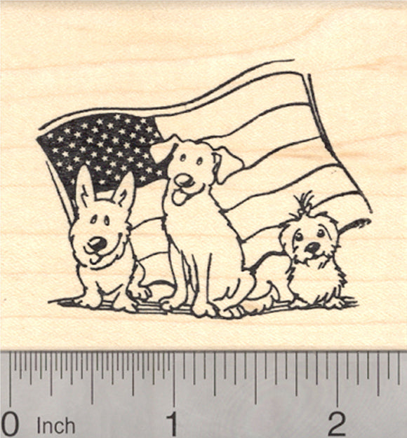 4th of July Dog Rubber Stamp, 3 Dogs with American Flag, Corgi, Labrador Retriever, Shih Tzu, German Shepherd, Pitbull