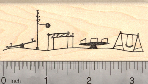 Playground Rubber Stamp, School Recess, Swing Set, Tetherball, Seesaw, Merry-go-round