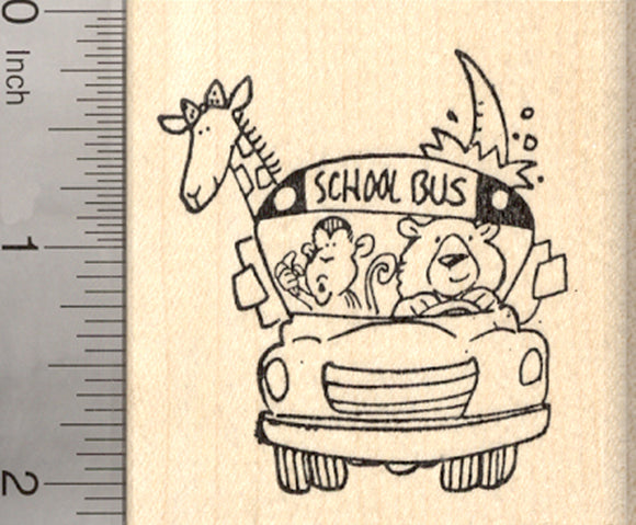 Animals on School Bus Rubber Stamp, Monkey, Giraffe, Bear, Rhino