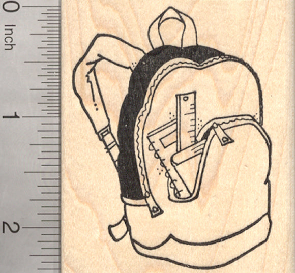 Backpack Rubber Stamp, AKA Rucksack, knapsack, Back to School Series