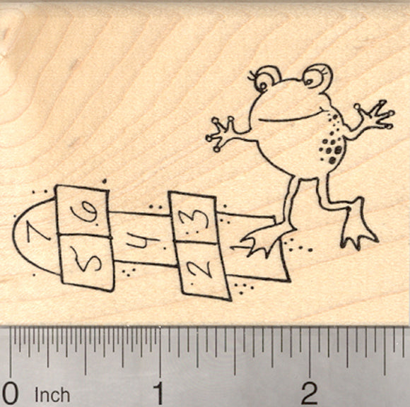 Hopscotch Frog Rubber Stamp, Playground Game, Back to School Series