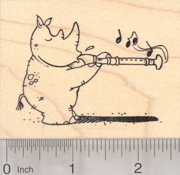 Rhino with Recorder Rubber Stamp, Musical Rhinoceros, Back to School