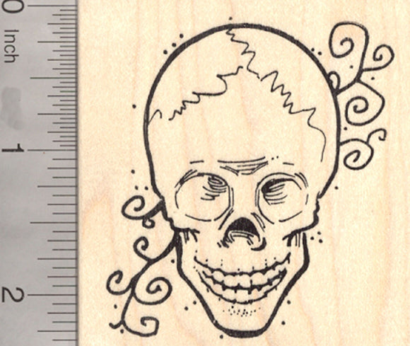 Human Skull Rubber Stamp, Halloween, Day of the Dead, Día de los Muertos