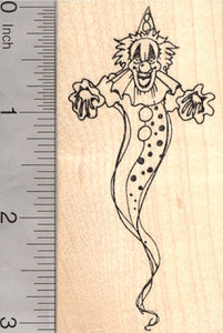 Deranged Clown Halloween Rubber Stamp, Scary Apparition, Circus Series