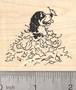 Bernese Mountain Dog Rubber Stamp, in Fall Leaves, Autumn Series